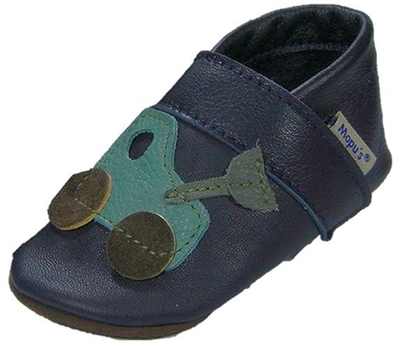 Mopu's® Krabbelschuhe - Lederpuschen in marineblau mit Blume - handgemachte Markenqualität aus Deutschland FJp1RM