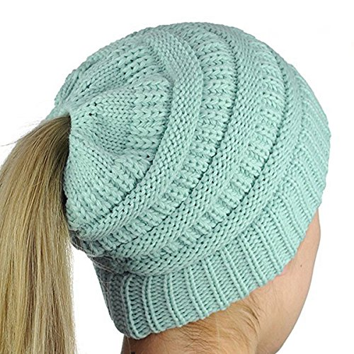 Blue Kids Beanie (iParaAiluRy Winter Knit Ponytail Hat For Women  Slouchy Knitted Beanie Hat For Girl  Soft Stretch Cable Winter Warm Skull Cap, One Size, Light Blue)