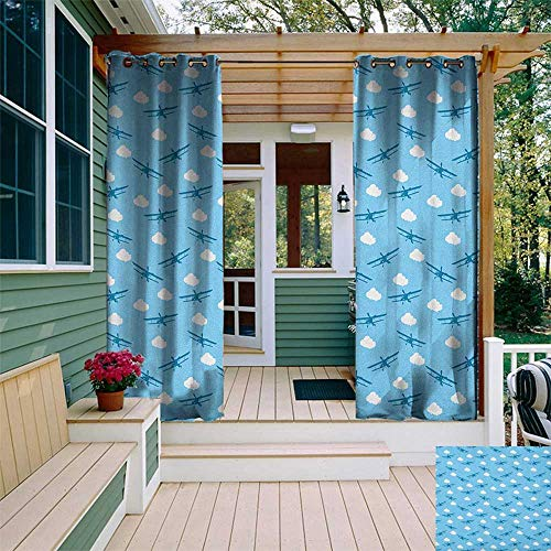 Airplane, Outdoor Patio Curtains, Blue Biplanes Flying Among Puffy White Clouds and Dashed Lines Childhood Theme, Outdoor Curtain Panels for Patio Waterproof W84 x L108 Inch Blue White
