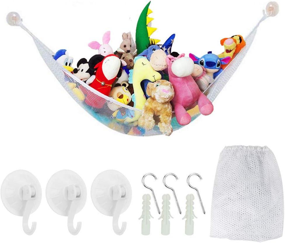 Tancuder - Hamaca de peluche para niños, tamaño grande, para almacenamiento, hamaca de malla, organizador de juguetes y peluches (blanco)