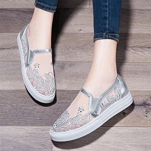 Argent Blanc Chaussures Lady Plates Slippers Xiaxia Silver Unique De Spring D'extérieur Sports XxgqAII7
