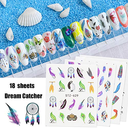 Nail Art Supplies Stickers Decal for Women Girls Decorations 18 Sheets Butterfly Feather Dreamcatcher Nail Art Accessories Set Environmental Protection Watermark Design for Manicure Wraps Decor Tips