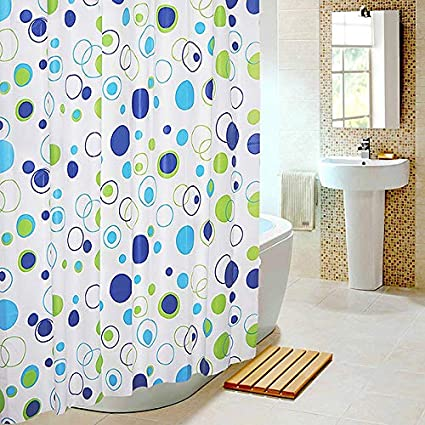 GETKO WITH DEVICE Bathroom Shower Curtain Waterproof Polyester Fabric Random Color & Pattern with Fabric Covered Rings