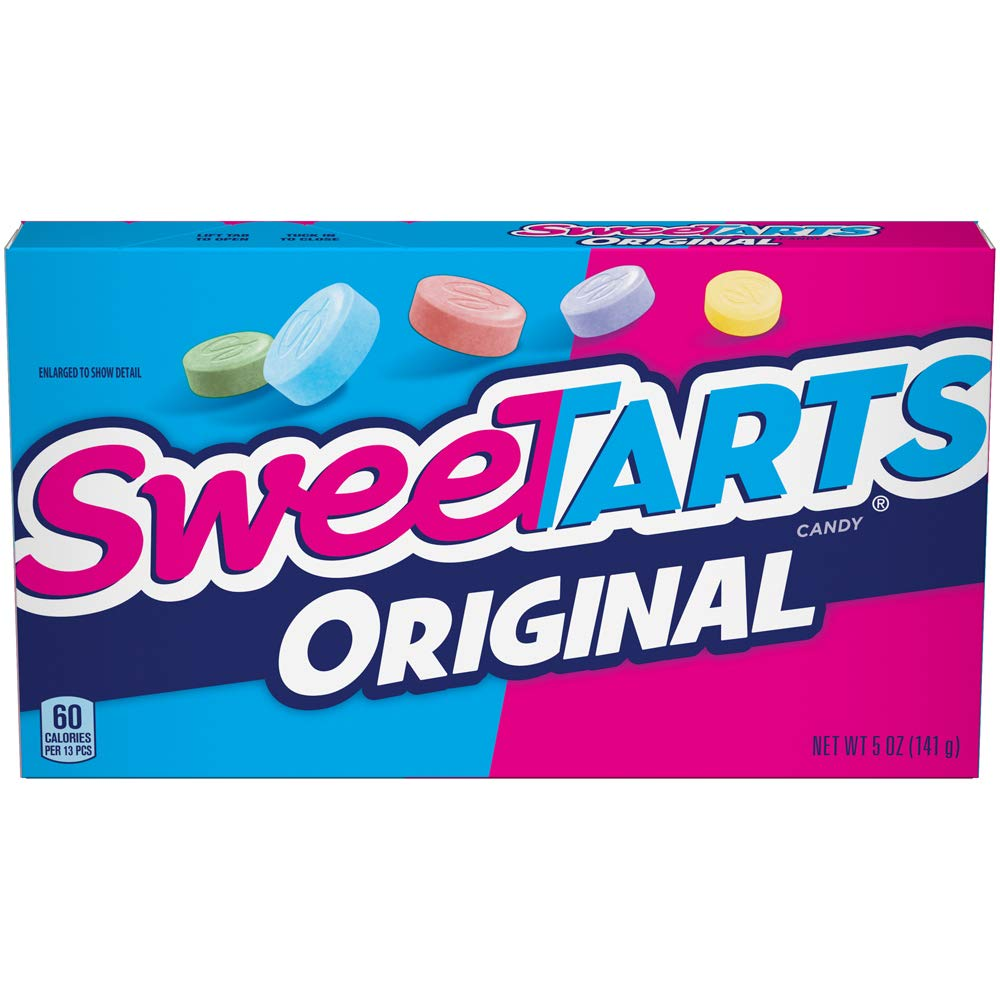 SweeTARTS Original Theater Box, 5 Ounce, Pack of 10                SweeTarts Original Candy | SweetTarts Fruit Flavored Candy | Hard Candy | 1.8 oz Tubes | Pack of 6 Tubes                SweeTarts Tangy Candy 36 Rolls                SweeTARTS Mini Chewy Candy Theater Box, 3.75 Ounce, Pack of 12