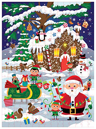 Christmas Jigsaw Puzzle - 300-Piece Large Holiday Winter Wonderland Puzzle Set, Santa and Elves, Tree, Snowman, Gingerbread House, for Kids and Adults, Secret Santa Gift Ideas, 27 x 36 Inches