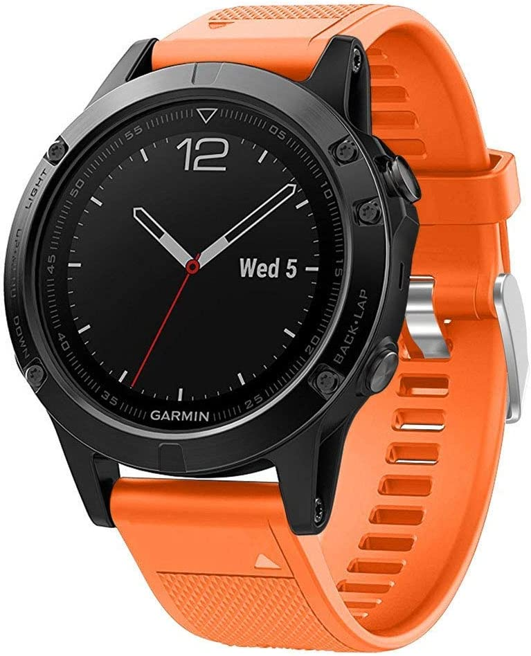 VICARA Fenix 5 Banda de Reloj ,Fenix 5 Correa QuickFit Silicona Correa de Reloj para Garmin Fenix 5 reloj GPS (naranja)
