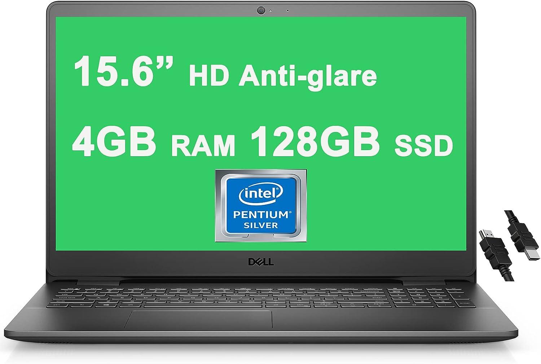 "Dell 2021 Flagship Inspiron 3000 3502 15 Laptop 15.6"" HD Narrow Border Display Intel Quad-Core Pentium Silver N5030 Processor 4GB RAM 128GB SSD USB 3.2 WIFI5 Win10 Black + iCarp HDMI Cable"