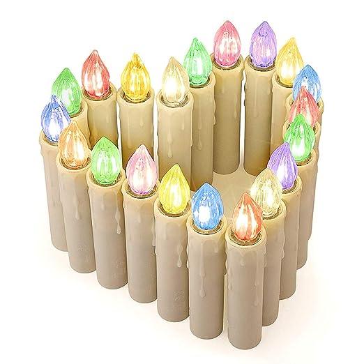 Jingrong Velas de Led con 7 colores,Velas sin llama,Decoración de Velas para Fiesta de Cumpleaños,Año nuevo,San Valentin,Decoración(Pilas 20pcs no ...