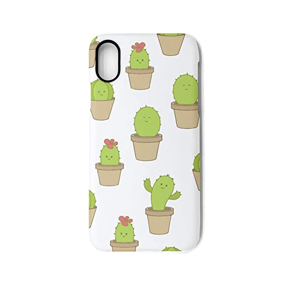 67475f6b5a Image Unavailable. Image not available for. Color: Srel rtrterwe Phone case  iPhone X Green Cute Cactus in a Pot ...