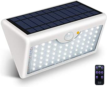 BRIGHTSHOW Focos Solares Exterior, Luz Solar Jardín 60 LED, Luces de Exterior con Sensor de Seguridad por Movimiento Inalámbricas y con Batería Solar para Muros Exteriores, Jardines, Patios y Terrazas: Amazon.es: Iluminación
