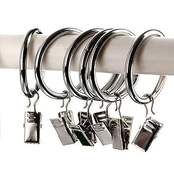 20 anillas para cortinas con clips, anillas de acero ...