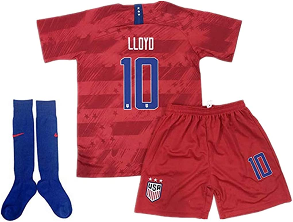 BADAWO #10 Carli Lloyd Home Soccer Jersey 3PCS for Youth and Kids White