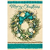 """"""" Coastal Wreath – Merry Christmas """" – Double Sided, Standard Size, 28 Inch X 40 Inch Decorative Flag For Sale"""