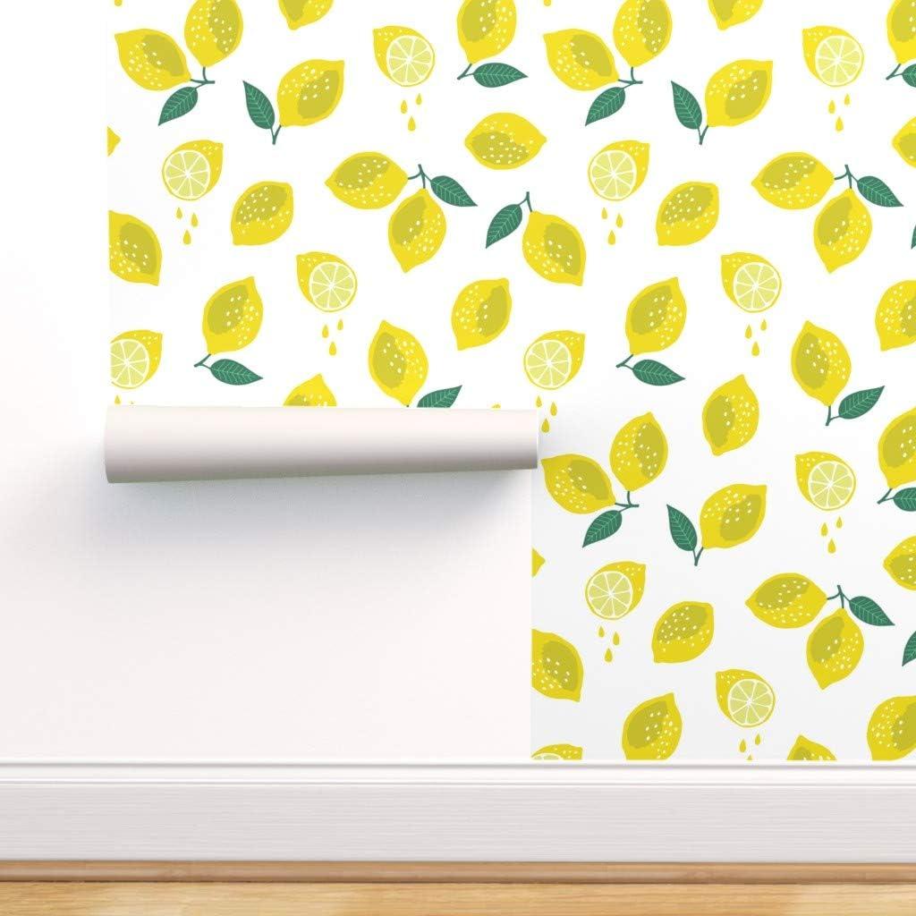 Peel-and-Stick Removable Wallpaper Lemon Fruit Fresh Yellow Summer Kitchen