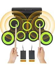 Juego de batería electrónica, juguetes educativos para el desarrollo temprano para niños, niños, niñas, almohadilla portátil de práctica Roll Up 7, kit de batería eléctrica, regalo de cumpleaños