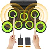 Electronic Drum Set , Portable Roll Up 7 Practice Pad ,Electronic Drum Kit with Headphone Jack ,Dual Speakers ,Drum Sticks and Pedals ,Up to 10H Playing Time ,Birthday Gift For Kids ,Beginner
