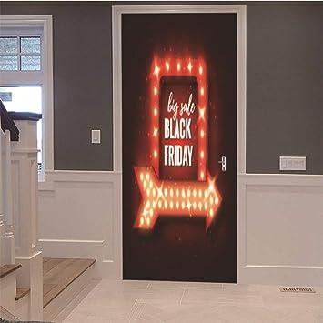 Puerta pegatina 3D Logotipo de Black Friday 77X200CM Mural ...