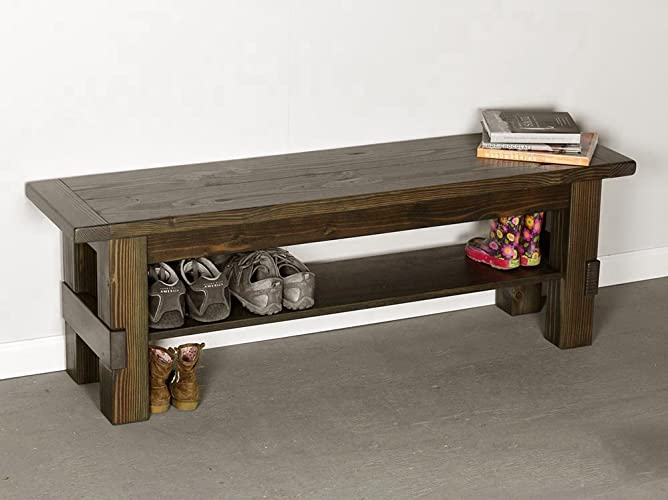 Amazoncom Solid Wood Storage Bench Entryway Seat And Shoe Shelf