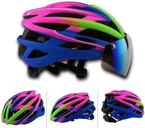 SYYC Casco de Bicicleta con Gafas magnéticas Hombres/Mujeres ...