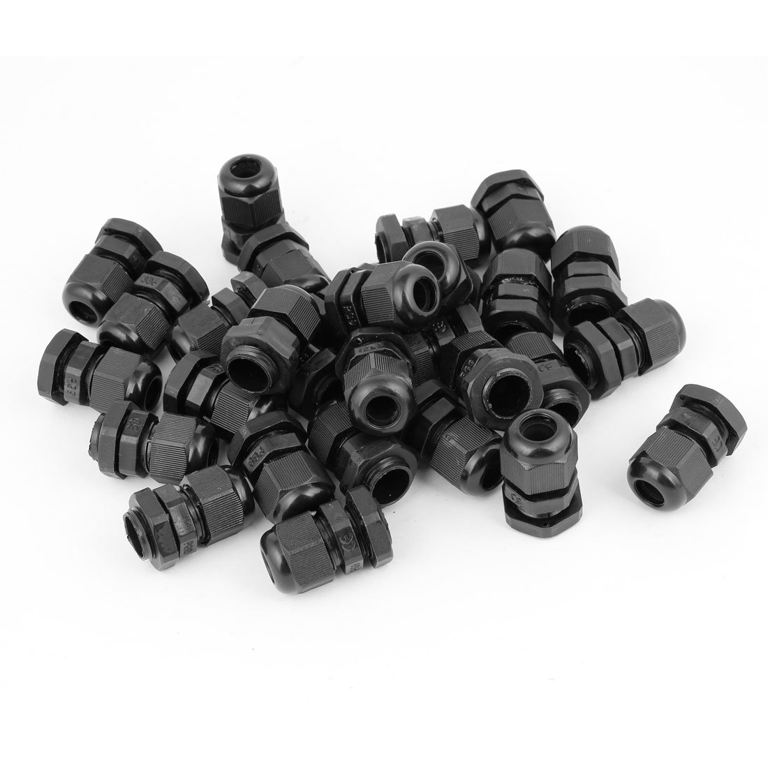 36 Pcs Black PG9 Plastic Connector Gland for 4mm-8mm Cable