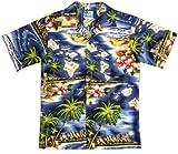 RJC Boys Hibiscus Hawaiian Island Shirt in Navy Blue - 4