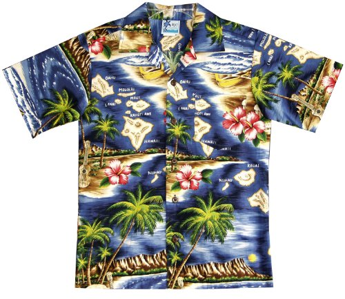 RJC Boys Hibiscus Hawaiian Island Shirt in Navy Blue - (Island Hibiscus Hawaiian Shirt)