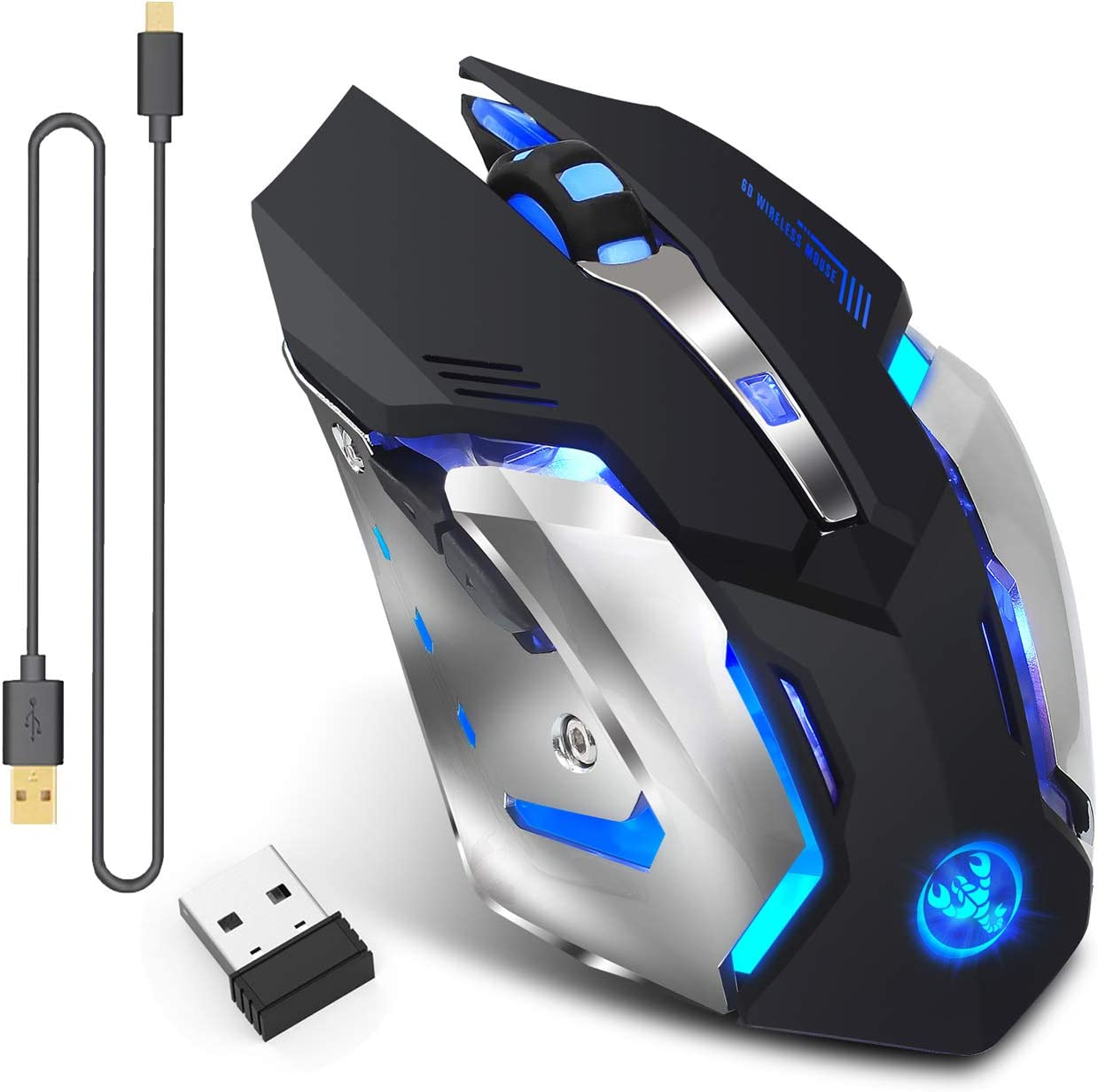 Rechargeable 2.4Ghz Wireless Gaming Mouse with USB Receiver,7 Colors Backlit for MacBook, Computer PC, Laptop (600Mah Lithium Battery) (X70 Black)