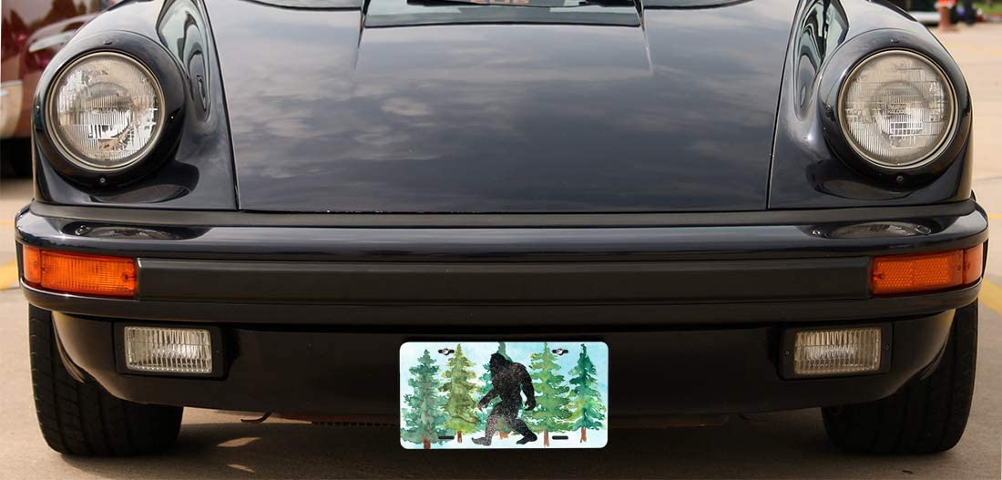 Amcove License Plate Big Foot Sasquatch Watercolor Custom Decorative Aluminum Vanity License Plate 6 X 12 Inch