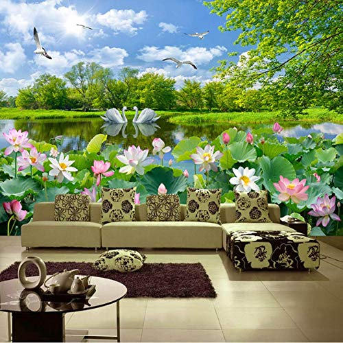 (Sssxka Custom Photo Wallpaper Lotus Pond Swan Lake Nature Landscape Large Murals 3D Living Room Decoration Wall Mural-400X280CM)
