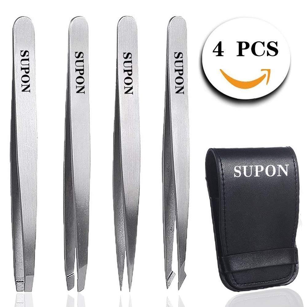 Supon 4 in 1 tweezer Set Oblique + Pointed + Straight Tweezers for Eyebrows and Hair incl. Storage Bag Set case in Tweezers Set