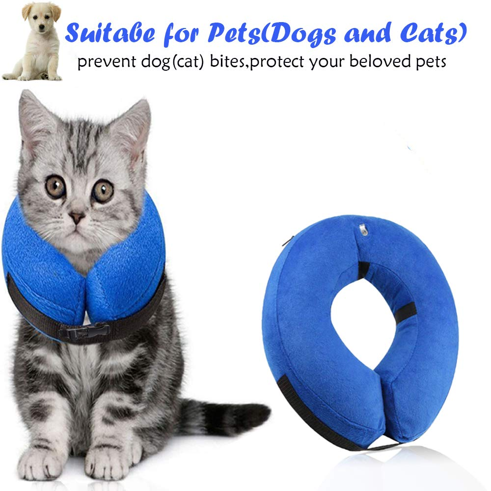 Surfei Protective Inflatable Dog Collar, Soft and Adjustable Recovery Collar for Postoperative Wound Healing, Perfect to Prevent Pets from Touching Wounds Not Block Vision (Small)