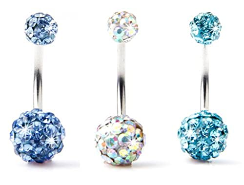 9ddc2928c BODYA Lot of 3pc 14G Swarovski Crystal Double Gem jeweled Belly Button Ring  Bling Body Jewelry Piercing Ring 3 Pack (Light Blue+Gold&Multi  Color+Turquoise): ...