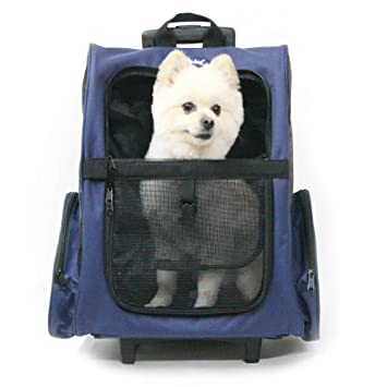 Jmw Pet Wheel Carrier Navy Blue Bag Soft Sided Travel Rolling