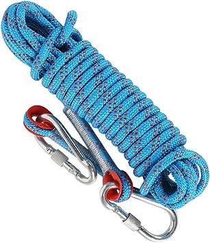 Cuerda de escalada Mizomor de 10 m Cuerda de seguridad con 2 mosquetones, cuerda trenzada de nailon de 8 mm de diámetro, cuerda de para caídaspara ...