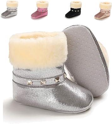Newborn Baby Boys Girls Winter Warm Boots Velvet Crib Shoes Anti-Slip Prewalkers