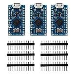 KOOKYE 3PCS Pro Micro ATmega32U4 5V/16MHz Module Board With 2 Row Pin Header for Arduino Leonardo Replace ATmega328 Arduino Pro Mini