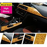 HOHO High Gloss Wood Grain Textured Vinyl Sticker Self-adhsive Contact Paper Film Decal Car Interior Home(124cmx1000cm)