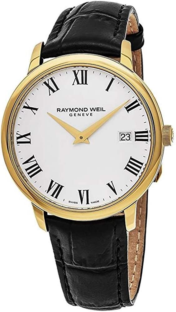 Raymond Weil White Dial Stainless Steel Leather Quartz Men s Watch 5488-PC-00300