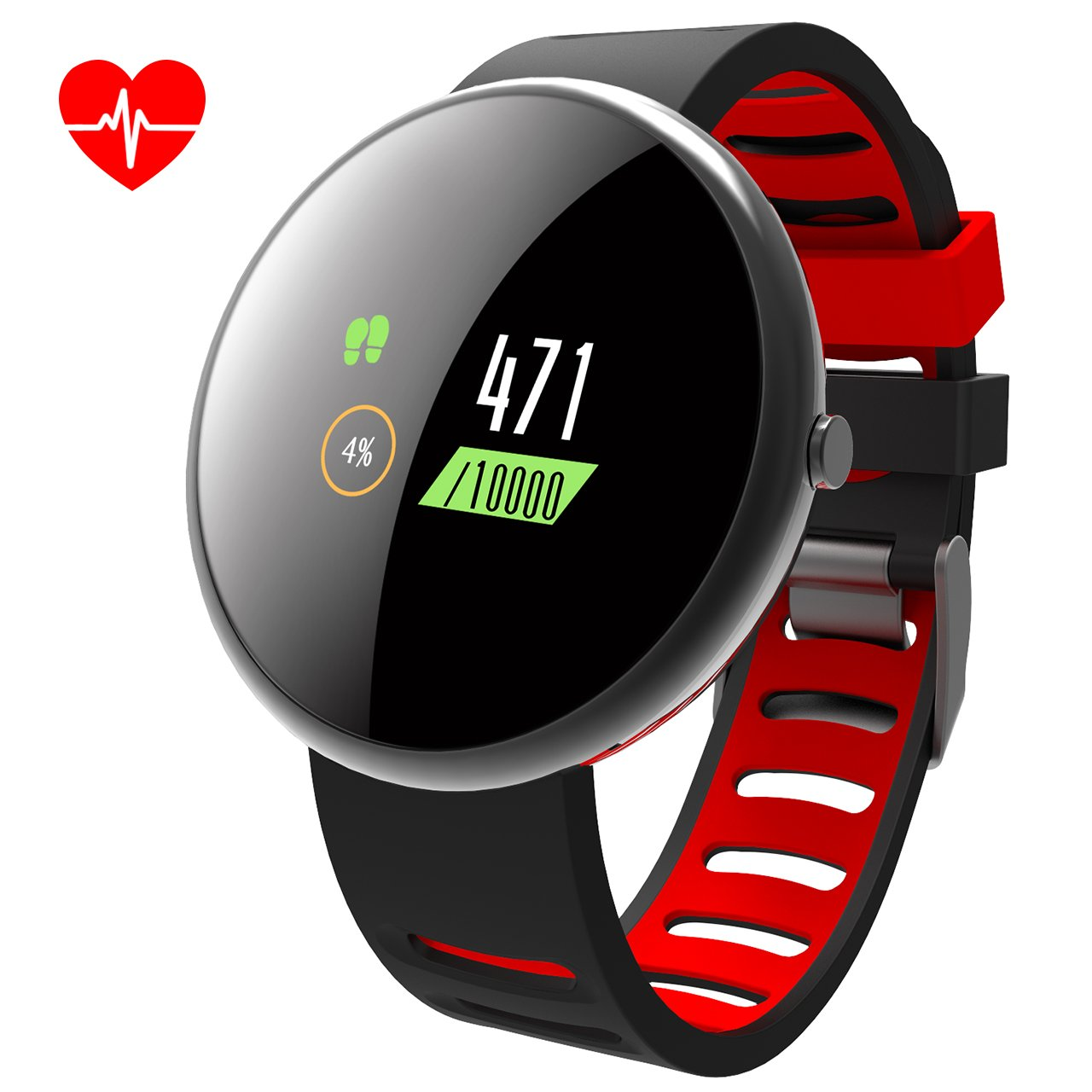 ROADTEC Smart Fitness Tracker Watch with Heart Rate Monitor,2.5D Color Screen IP67 Waterproof Activity Tracker with Calorie Pedometer Sleep Monitor for Kids Men (Black+Red)