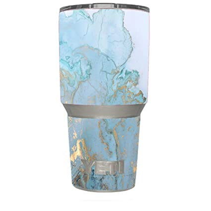 53476189486 Amazon.com: Skin Decal Vinyl Wrap for Yeti 30 oz Rambler Tumbler Cup Skins  Stickers Cover / Teal Blue Gold White Marble Granite: Kitchen & Dining