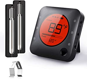 BFOUR Meat Thermometer, Wireless Bluetooth Digital Meat Thermometer with Dual Probe, Wireless Remote BBQ Thermometer for Smoker Kitchen Cooking Grill Thermometer Timer for Grilling BBQ Oven Candy