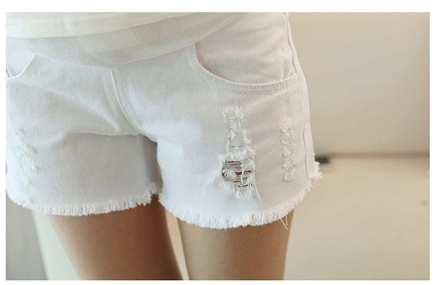 Asian Tag XXL, White Happyyip Womens Summer Casual Blue Secret Fit Belly Roll Hem Maternity Shorts