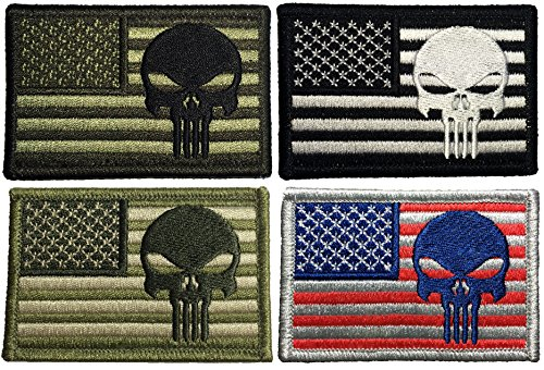 """Set 4 of Tactical USA Flag with Skull Patch 2""""x3"""" Hook and L"""