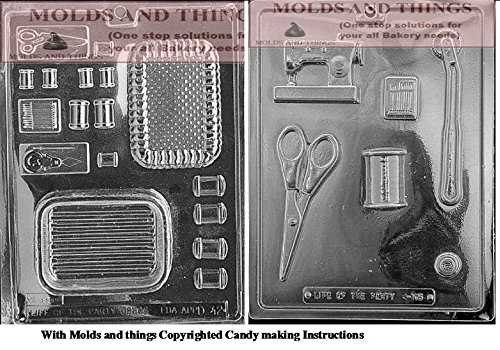 (Sewing kit chocolate candy mold, Sewing Kit pour box chocolate candy mold With Candy Making Instruction)