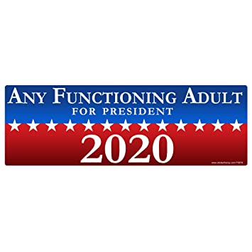 1 any functioning adult for president 2020 sticker fs678 laminated political funny bumper car