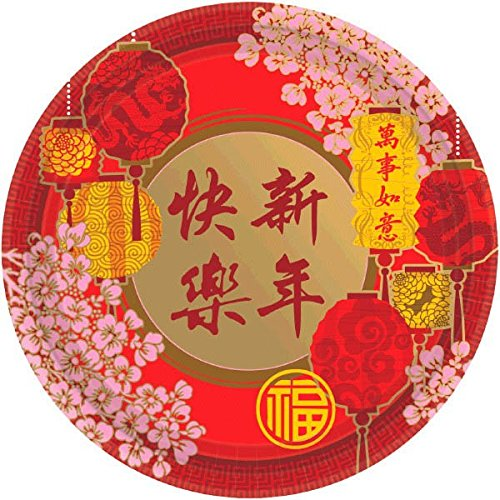 Blessed Chinese New Year Blossoms and Lanterns Round Plates Party Tableware, Paper, 10'', Pack of 8 by Amscan