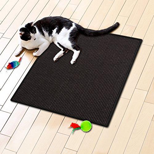Floori® Sisal Kratzteppich   Naturfaser: nachhaltig und umweltfreundlich   Schwarz, 50x50cm
