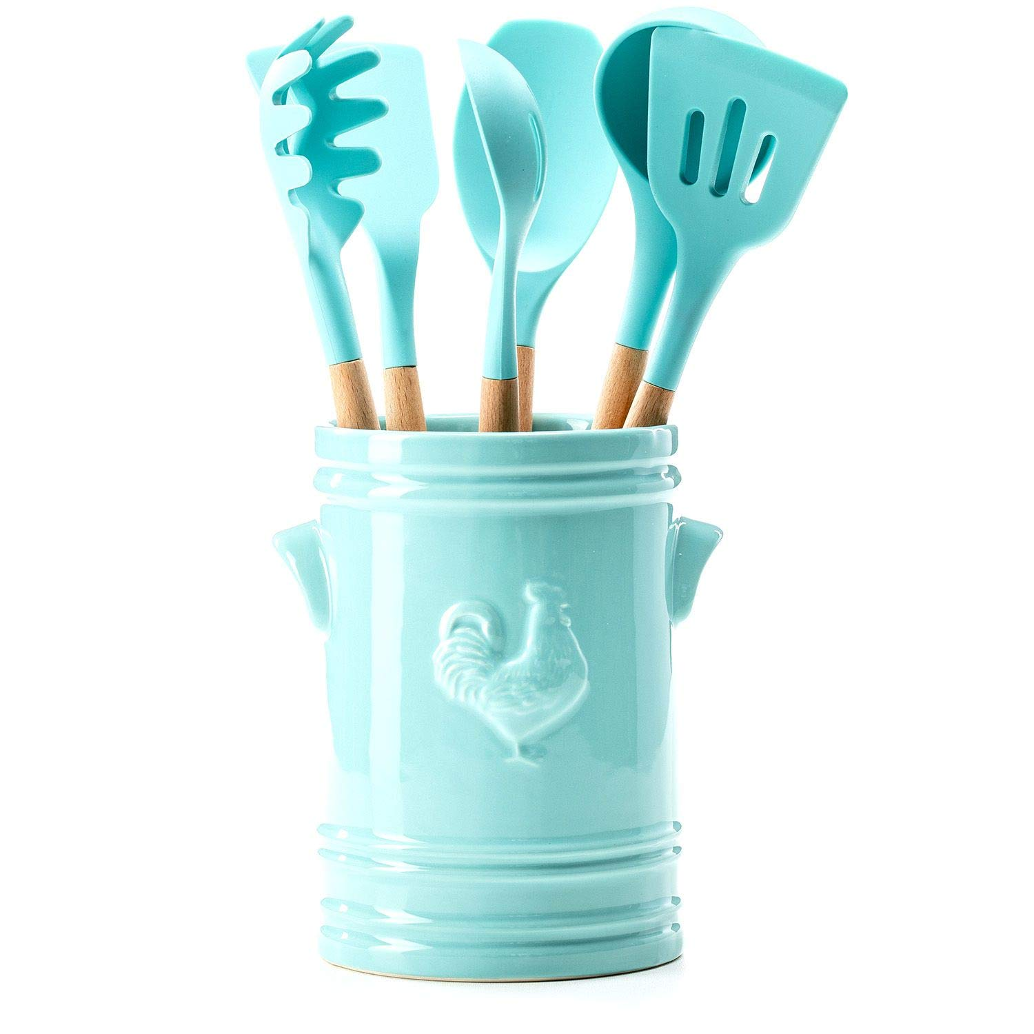 7-Piece Crock and Utensil Set (Teal) by Farmers Market