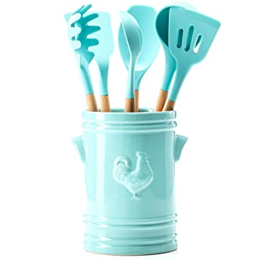 7-Piece Crock and Utensil Set (Teal)
