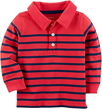 Carter's Boy's Long Sleeve Red & Navy Striped Polo Tee (6M)